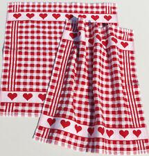 2x Handtücher Herzen Küchentücher Kracht Frottee Küche Karo Frottier Rot Weiß