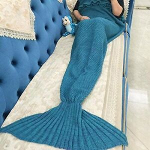 Knitted Blue Mermaid Tail Design Warm Blanket For Adult (One-Size)