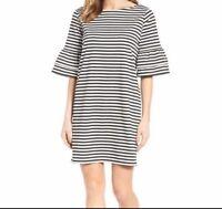 HALOGEN Women's Ruffle Sleeve Shift Dress Striped Black NEW Size Small