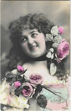 Photo PC SBW 543/44 beautiful lady with flowers in hair roses pretty tinted