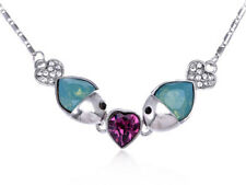 Crystal Element Green Opal Purple Heart Stone Fish Lovers New Necklace