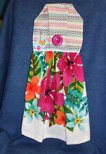 **NEW** Handmade Tropical Summer Flowers Hanging Kitchen Hand Towel #1733