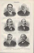 Lithografie 1905: Geografen. Ritter Kiepert Peschel Richthofen Ratzel Reclus Geo