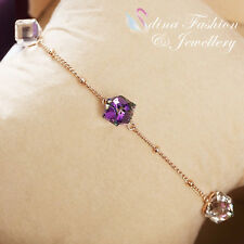 18K Rose Gold Plated Made With Swarovski Crystal Water Cube Slim Chain Bracelet