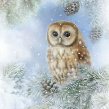 4 x Single Paper Napkins/3 Ply/Decoupage/Craft/Christmas/Tawny Owl