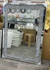 Crushed Diamond Wall Mirror diamante Gems Crystal Sparkly Silver Large 102x72cm
