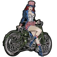 Pin Up Sam girl EMBROIDERED 6 INCH IRON ON MC BIKER  PATCH