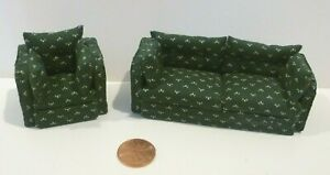 """DOLLHOUSE MINIATURE 1/2"""" COUCH & CHAIR SET HANDMADE SIGNED MAW 1990"""