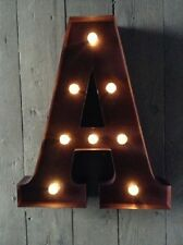 LED LIGHT CARNIVAL CIRCUS  RUST  METAL LETTER  A - WALL OR FREE STANDING 13 INCH