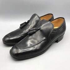 Vintage Black Tassel Loafer Mens Faux Leather Vegan Shoes Size 8.5