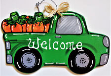 WELCOME Pumpkins TRUCK FALL Wall Art Sign Door Hanger Autumn Thanksgiving Plaque