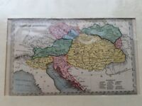 AUSTRIAN DOMINIONS ANTIQUE MID 19th CENTURY MAP BY T STARLING IN COLOUR
