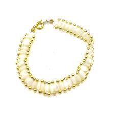 Armband Süßwasserperle  Perlen Leiterkette Perlmutt Weiß gefädelt 19cm