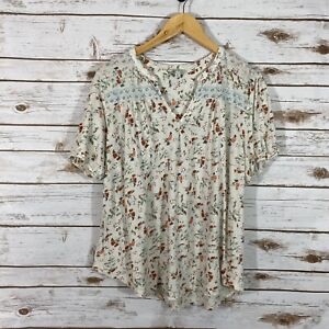 Woman's Lucky Brand XL Floral Short Sleeve Basic T- Shirt White Multi