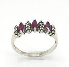 Rubin Ring   Rubine & Diamanten  925 Sterling Silber ANTIK STYLE  Ø 16.5 mm