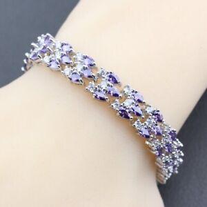 Purple Amethyst Stones White Topaz 925 Sterling Silver Tennis Bracelet Jewelry