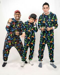 New Mens Boys Family Gaming Pyjamas Father Son Gamer Jumpsuit All in One 1Onesie