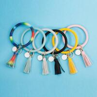 Bangle Keychain Keyring- Large Wrist Leather Tassel Bracelet Key Holder