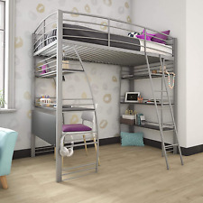 Twin Loft Bunk Bed Over Desk & Bookcase - Gray Metal Frame -Sturdy Safety Rails