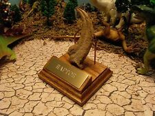 RAPTOR CLAW REPLICA WITH SOLID OAK & GOLD ENGRAVE STAND