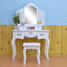 New Vanity Makeup Dressing Table Set w/Stool 5 Drawer & Mirror Jewelry Wood Desk