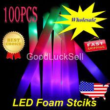100PCS Light-Up Foam Sticks LED Rally Rave Cheer Tube Soft Glow Baton Wands US!
