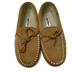 Minnetonka Tan Suede Loather Soled Slipper Size US 9