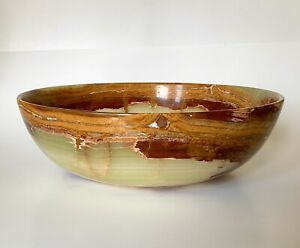 Beautiful Vintage Large Polished Solid Onyx Stone Bowl