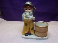 Hand Painted Porcelain Shepherd Match Or Tooth Pick Holder By Jasco 1978