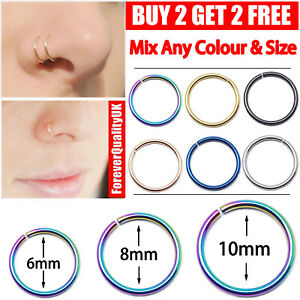 Surgical Steel Nose Ring Lip Rings Cartilage Helix Tragus Ear Piercing Hoop UK