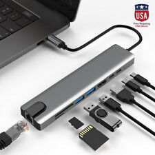 8in1 Multiport Type C To USB-C 4K HDMI Adapter USB 3.0 Cable Hub For Macbook USA