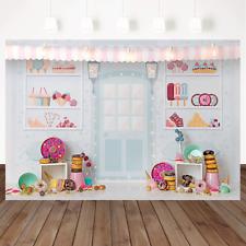 Vinyl Cartoon Dessert Shop Theme Birthday Photography Backdrop Birthday Party De