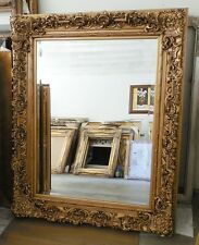 """Large Wood/Resin Louis Xiv """"46x53"""" Rectangle Beveled Framed Wall Mirror"""