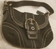 COACH Black Signature Jacquard handbag shoulder  bag #10296 EUC
