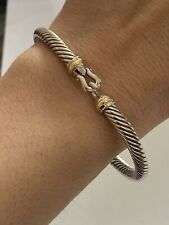 David Yurman 5mm  Cable Buckle Bracelet 18K Gold Bezel Size EXTRA LARGE