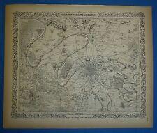 Vintage 1859 Colton's Atlas Map ~ PARIS, FRANCE ~ Old Antique & Authentic