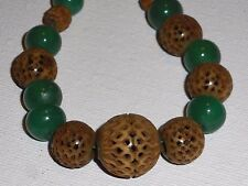 Vintage Apple Green Jade Micro Carved Bead Necklace Gold Filled