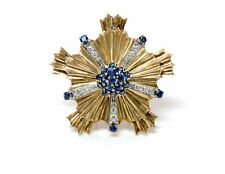 Tiffany & Co. Retro Starburst Sapphire Diamond 14K Yellow Gold Pin Brooch