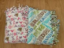 """Handmade Knotted Fleece Tied Throw Set of two Grandparents Blankets 70"""" x 48""""�"""