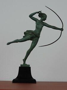 ART DECO  ATALANTE SKULPTUR FIGUR DEMARCO / MAX LE VERRIER  30er JAHRE
