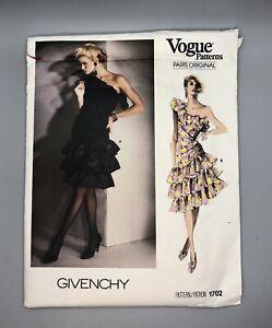 Vintage GIVENCHY Vogue Pattern #1702 Paris Original Ruffle Dress Size 14 - Uncut