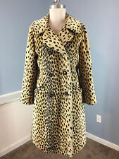 Vintage SAFARI fairmoor Animal Print Faux Fur Long Swing coat Excellent RARE S M