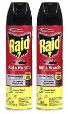 2 Raid Ant & Roach LEMON SCENT Kills On Contact! Aerosol Spray 17.5 oz