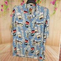 Pineapple Connection Mens Causal Camp Shirt size XL Blue Hawaii Surfer  C313