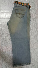 NWT Bongo Women's Capri Cropped Slit Bottom w/ Fancy Belt Washed Denim Pants 9