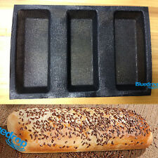 Silicone Fiberglass French Bread 3 Roll Mould Baking Pan Baguette Bakery Tray