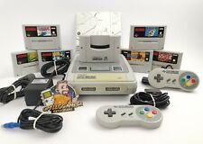 Super Nintendo SNES Konsole mit 2 Controllern & 6 Spielen, Gameboy Adapter Kabel