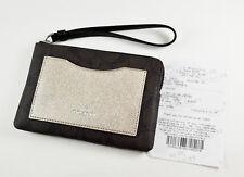 NWT COACH F22713 CORNER ZIP WRISTLET METALLIC COLORBLOCK Brown Platinum $85