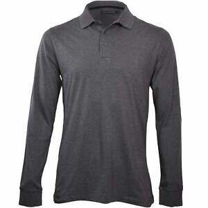 French Connection Long-Sleeve Jersey Men's Polo Shirt, Charcoal Melange