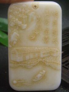 Antique Chinese Nephrite Celadon-HETIAN-JADE LI BAI poetry Statue/Pendant QING